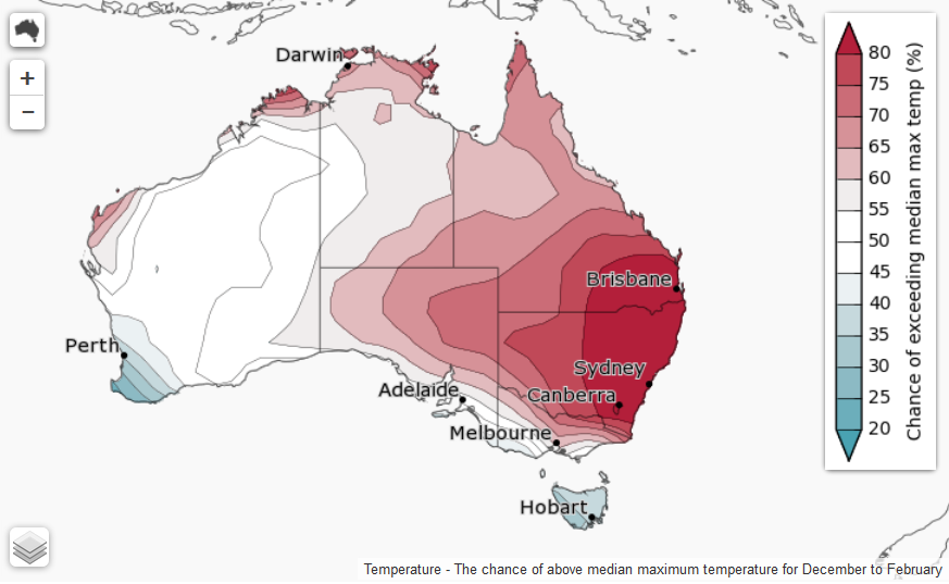 This image displays the likelihood of exceeding the median maximum temperatures for DEC 2016 - JAN 2017.  Image courtesy of Bureau of Meteorology