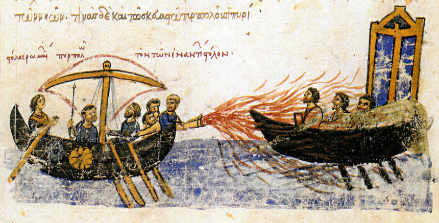 A Byzantine ship uses Greek fire against a ship of the rebel,  Thomas the Slav , in 821 AD. This 12th century illustration is from the  Madrid Skylitzes