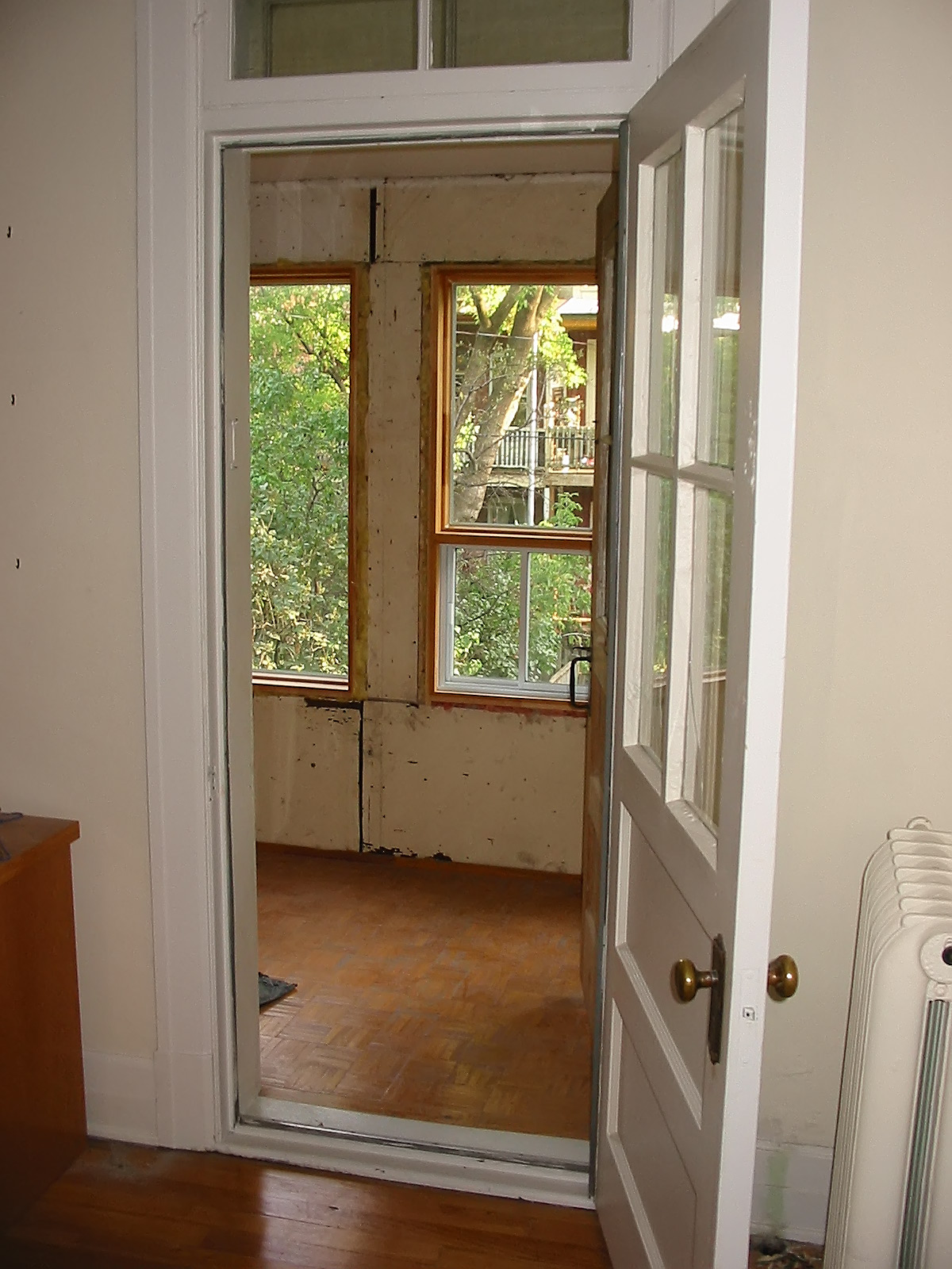A view of the small room and porch before the renovation