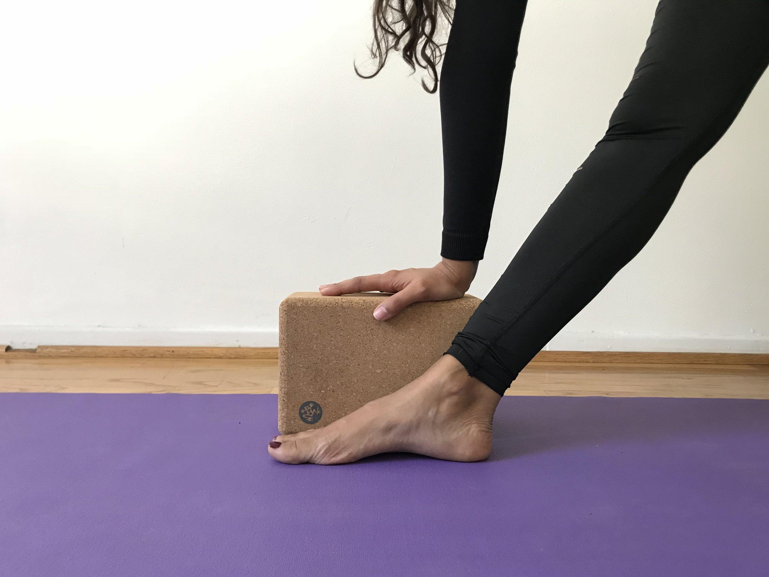 cork yoga block trikonasana