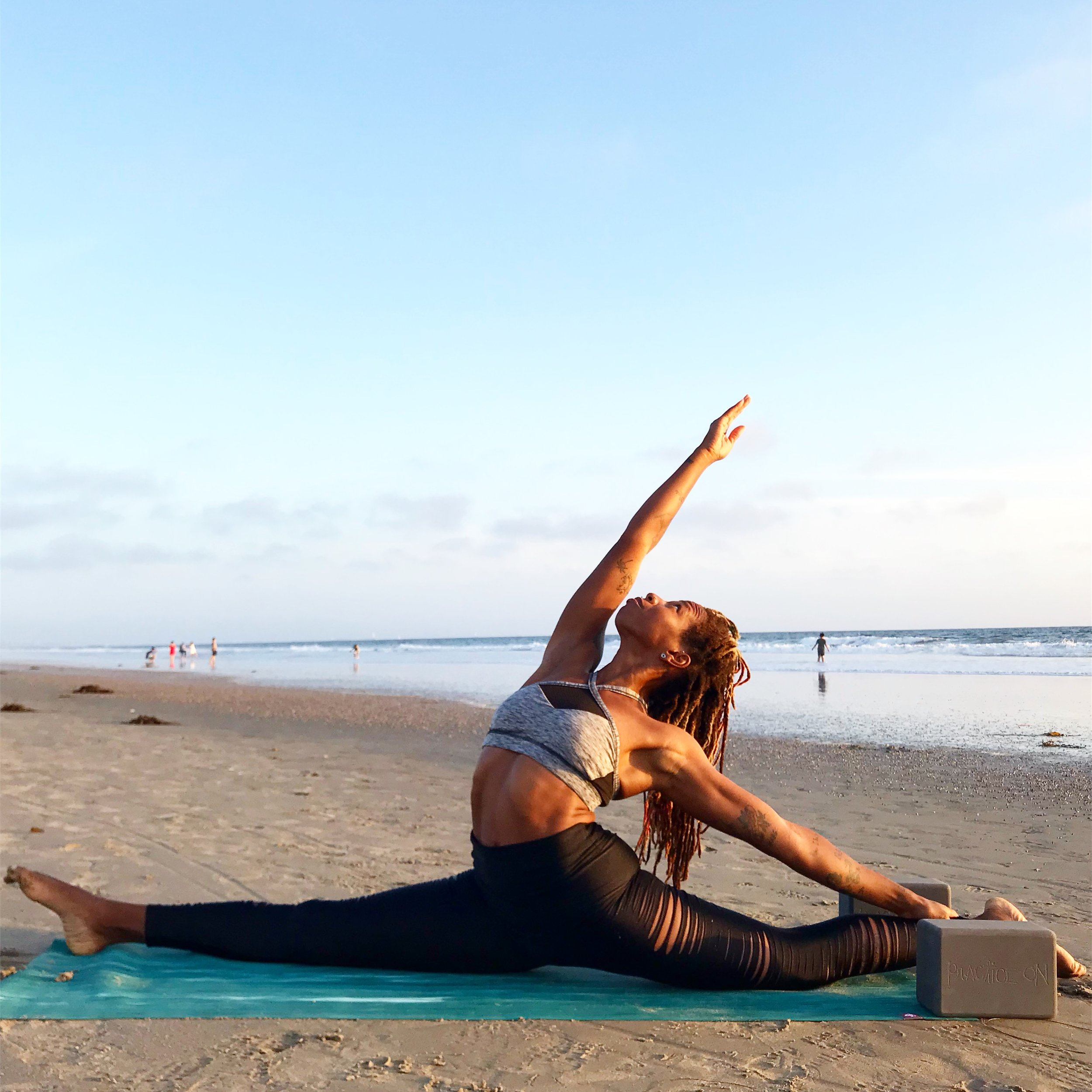 recycled foam yoga block at beach