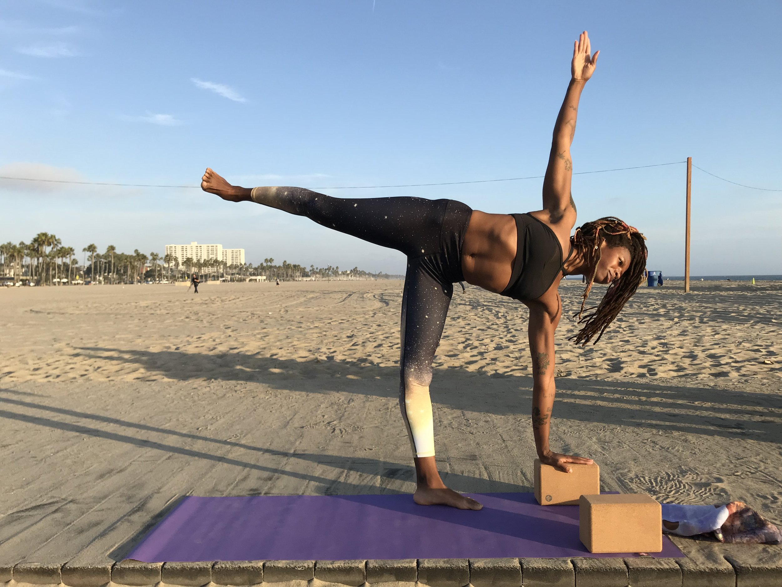 Cork yoga block half moon pose