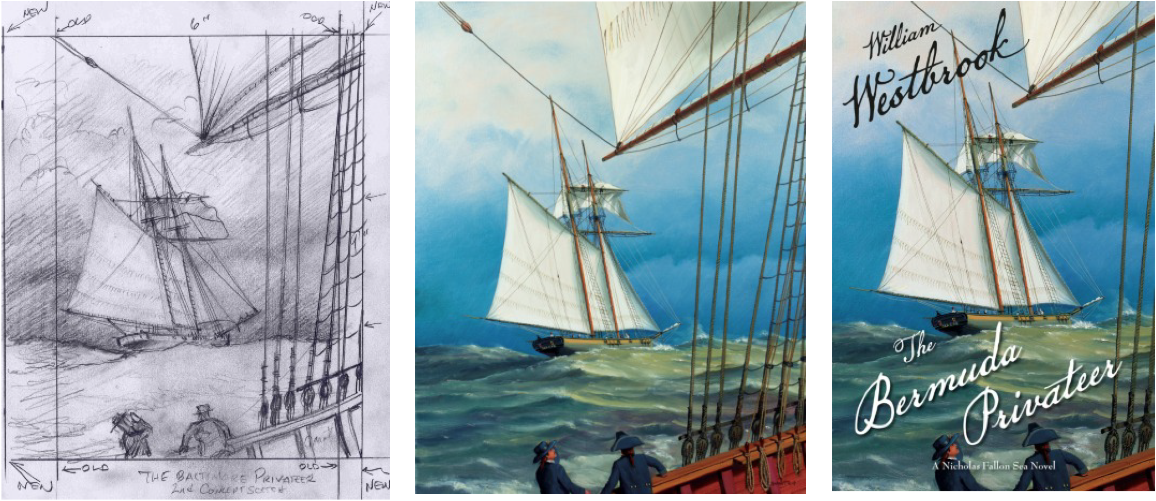 Producing the cover art for The Bermuda Prizeby William Westbrook began with a preliminary sketch (left) by marine artist Paul Garnett, which was based on a section of Westbrook's manuscript. Once the concept was approved by McBooks Press publisher Alex Skutt and Art Director Panda Musgrove, Garnett created an oil painting (center). Musgrove then took the finished painting, created a digital image, and cropped the image to the book's dimensions and added appropriate type, creating the finished product (right).