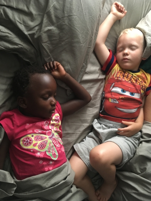 """when my """"twins"""" were just so little. i always woke with them in my bed."""