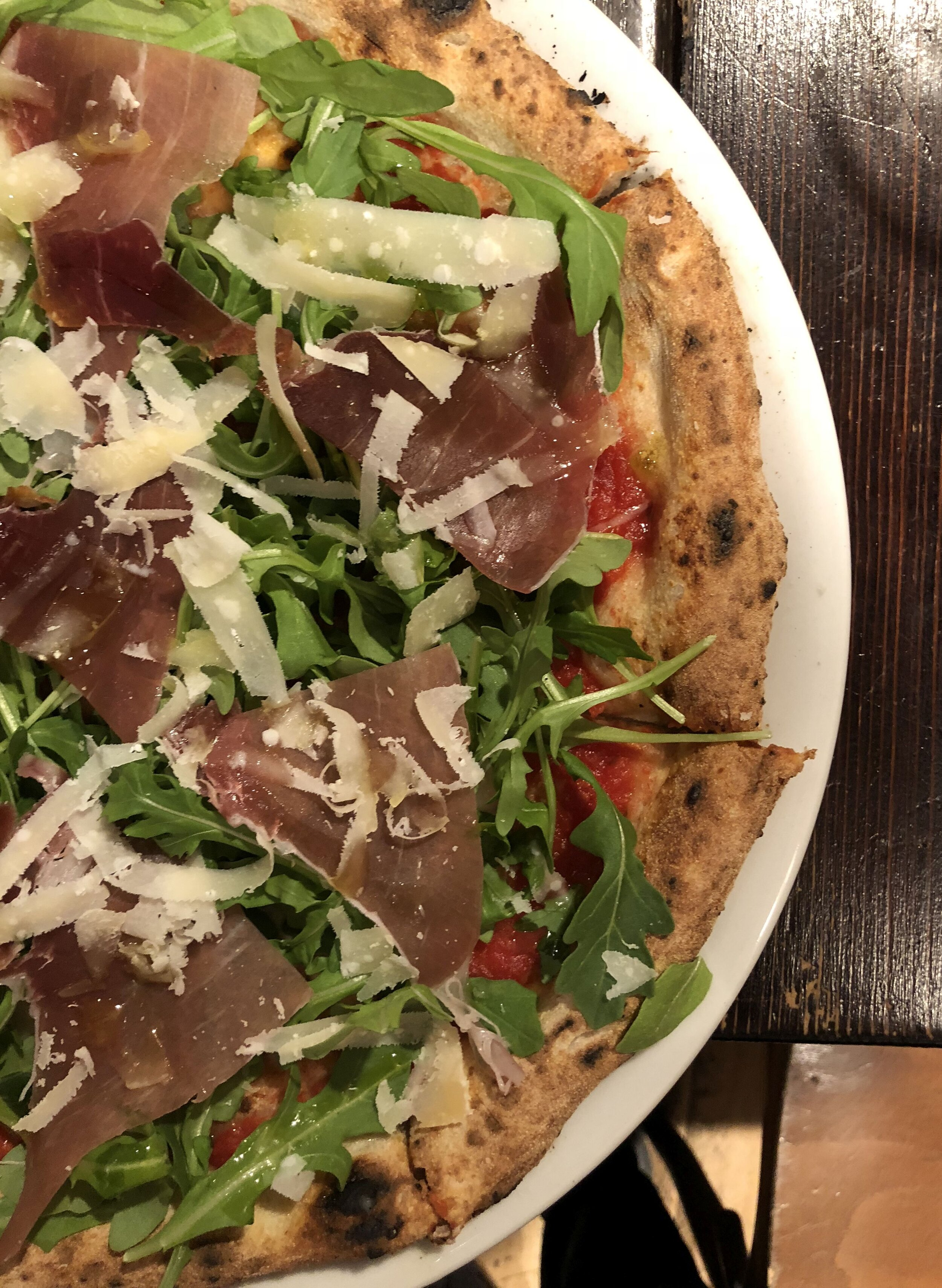 The namesake pizza at    Kesté    - with tomato sauce, buffalo mozz, prosciutto di parma, arugula, gran cru pecorino, basil and EVOO.