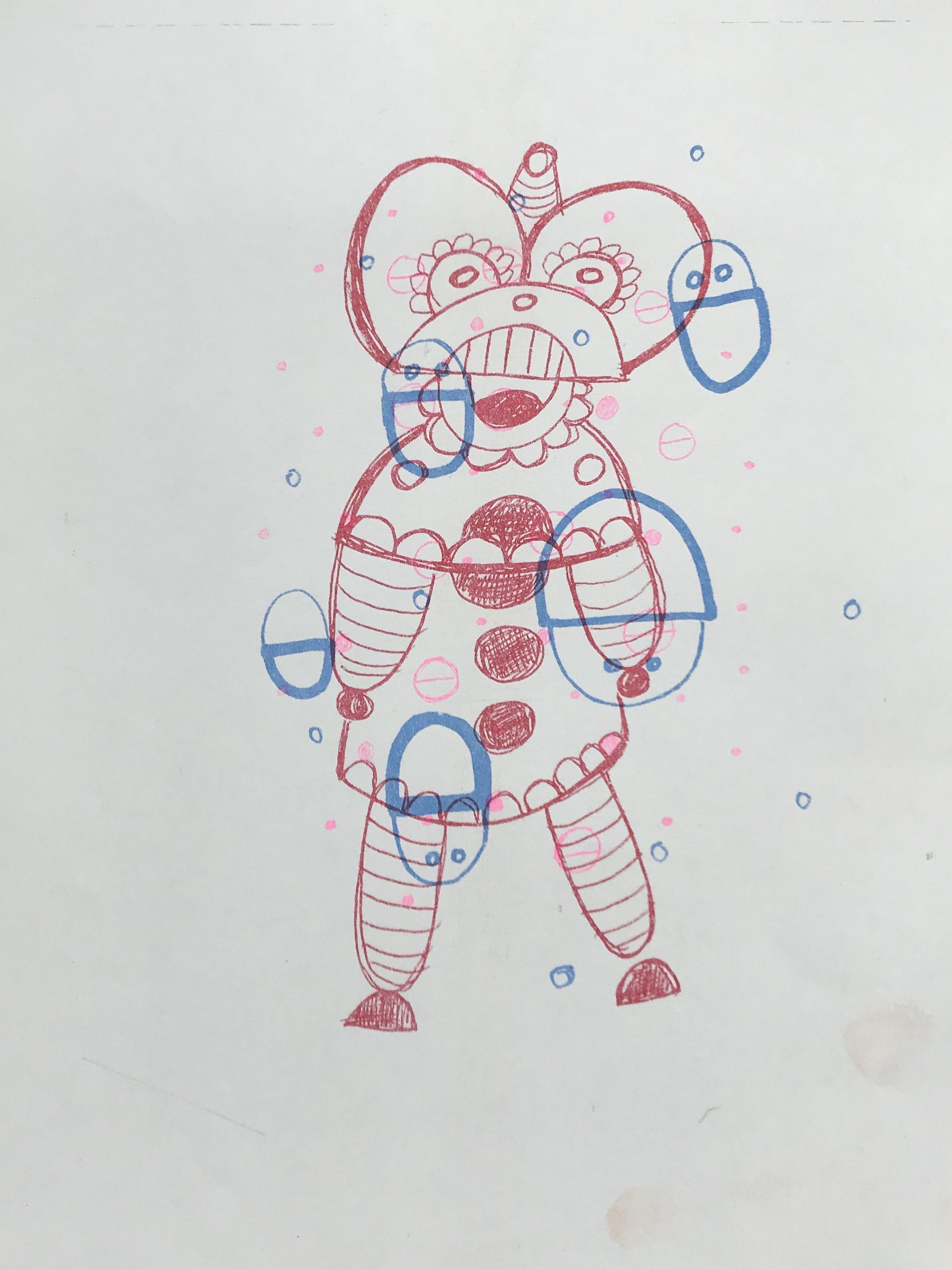 "Christopher Palacios, ""Half Circle Girl"", test print, risograph, 9x12 in, 2018."
