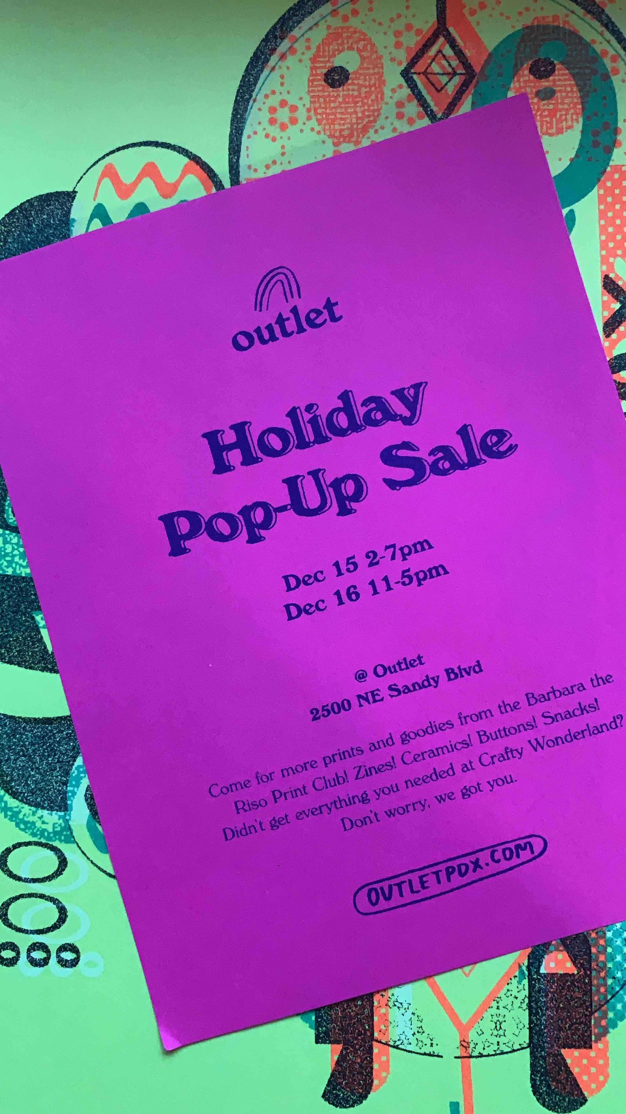 Outlet PDX Holiday Pop Sale Flyer
