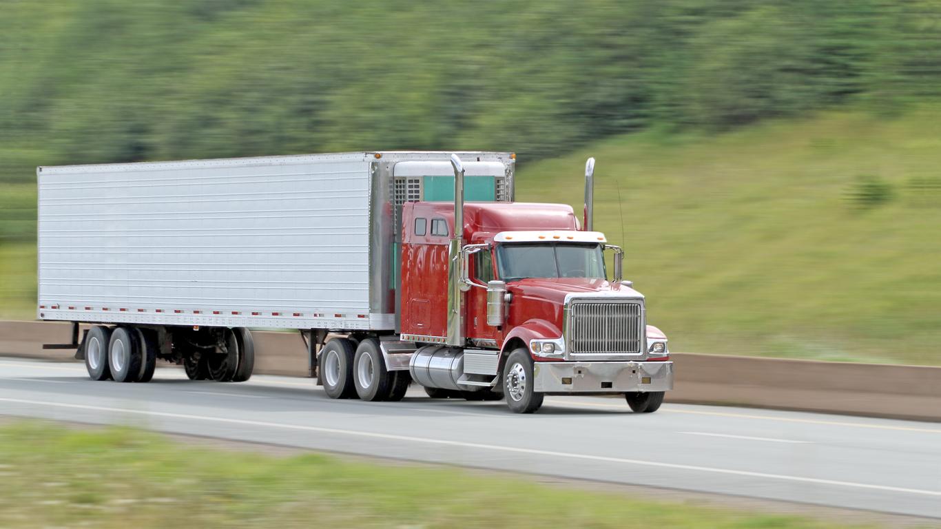 Truck transporting goods
