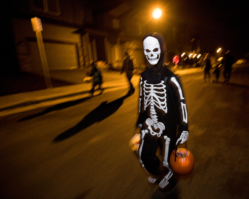 In dark-colored costumes, children are harder to see at night, and costumes often limit a child's ability to see.