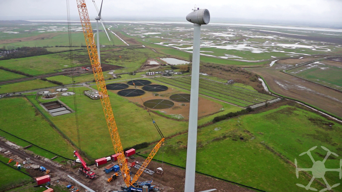 The 80 metre high turbine nacelle covered but ready to receive the hub