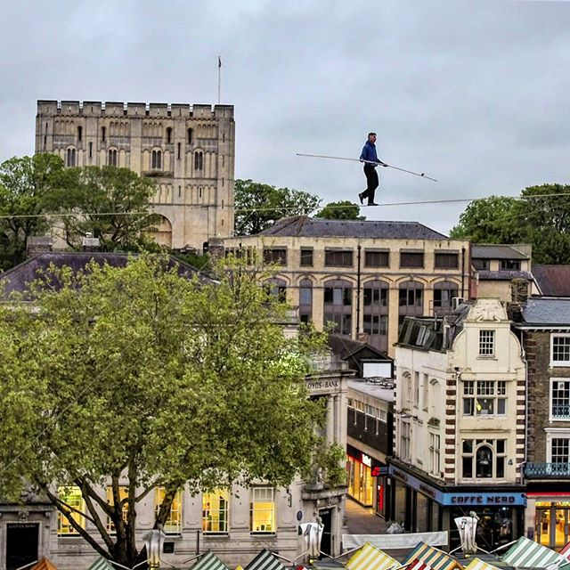 Norfolk and Norwich Festival starts tonight with opening performance of ropewalker, Chris Bullzini, walking across the award winning Norwich market. We filmed the rehearsal with @eye__film last night #nnf19 #norwich #norfolk #performingarts