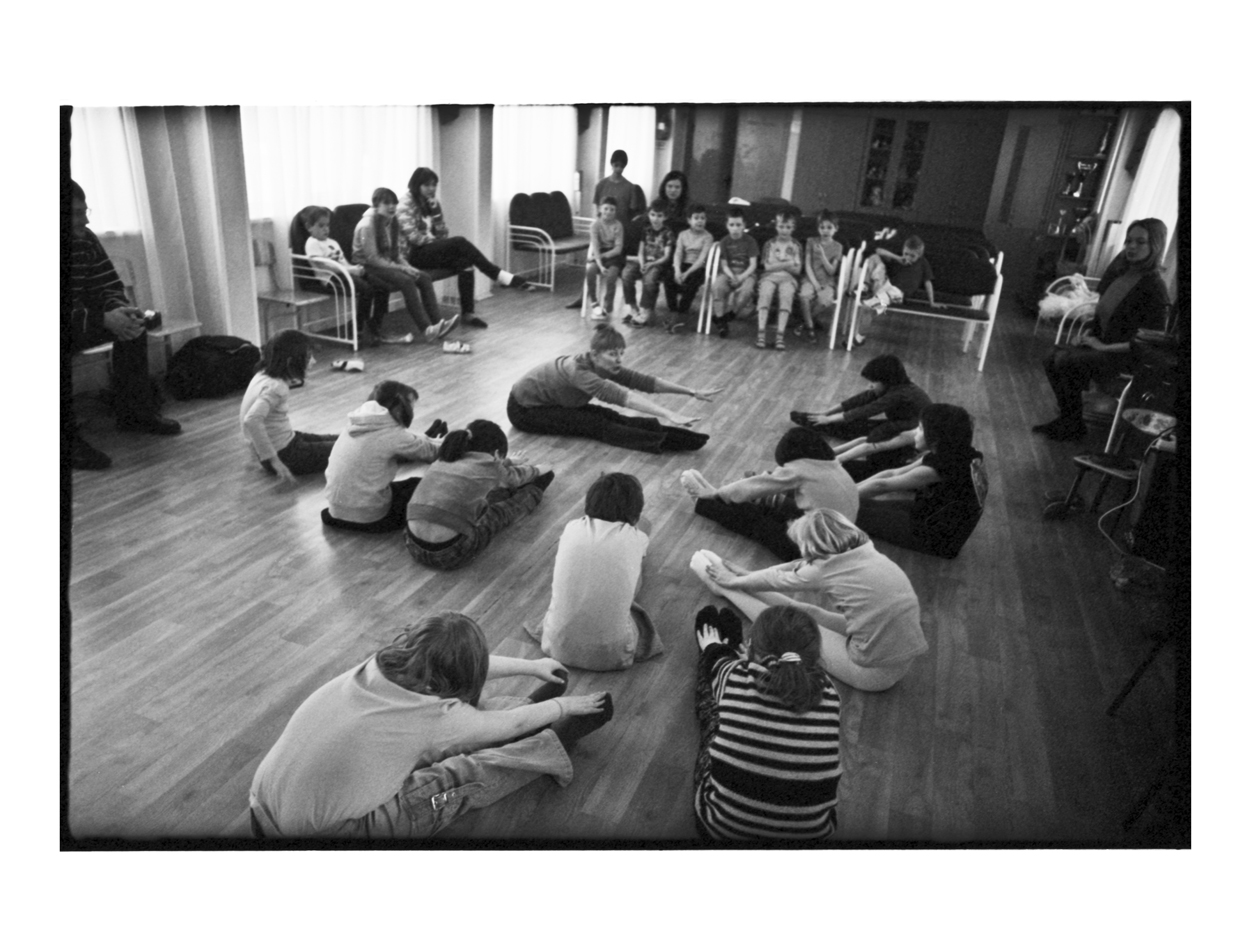Ekaterina holding a dance workshop at one of the orphanages.