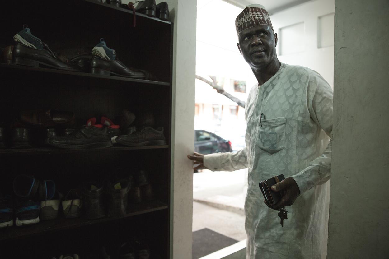 An African Muslim enters the mosque for the Jumu'ah prayer.