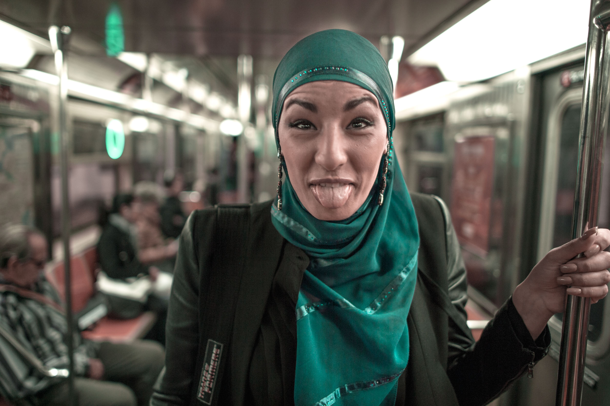 Eman B Ferdi , a Palestinian New Yorker on the Q-train.
