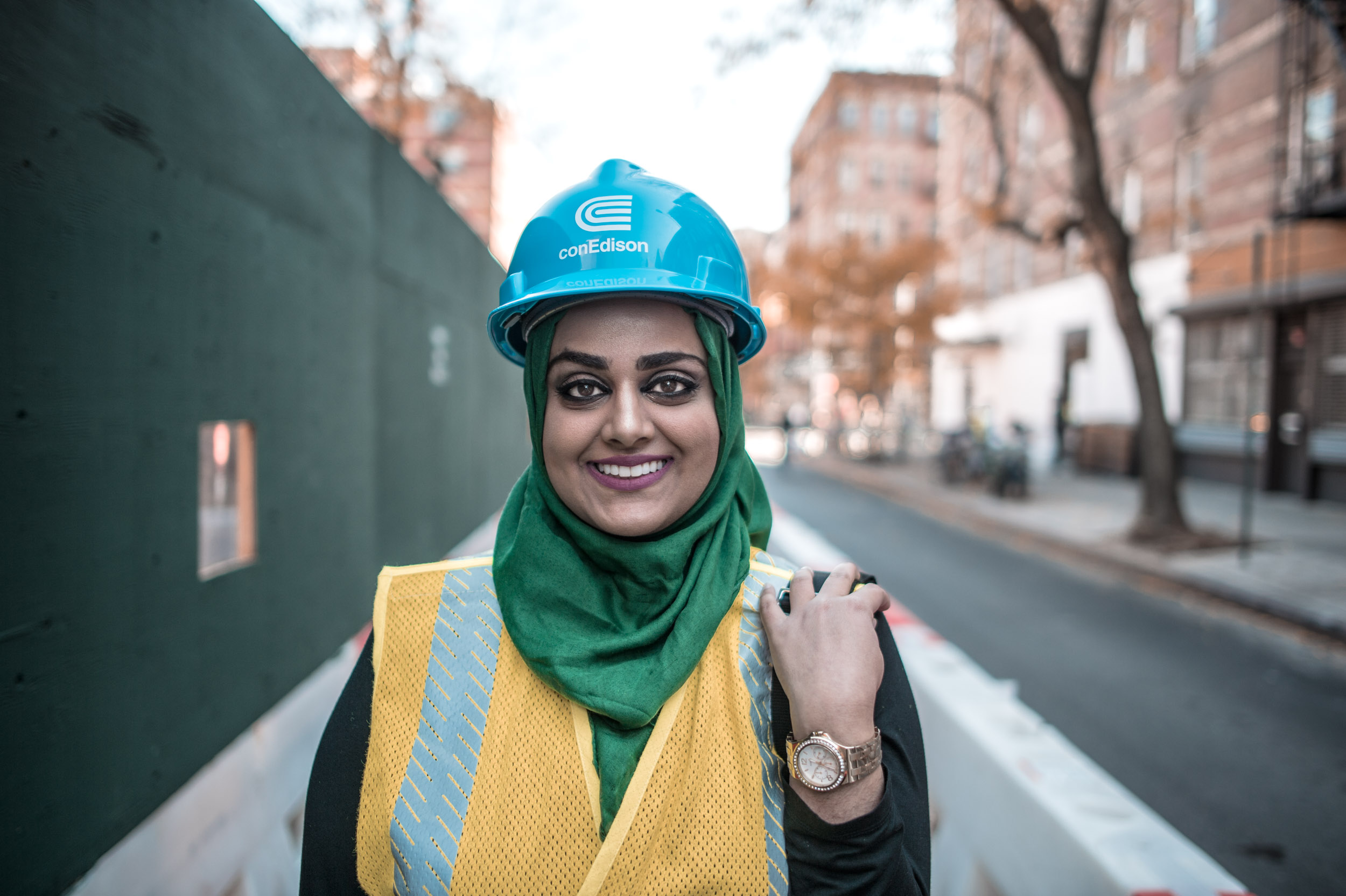 Aisha Awan , working on a construction site on the Lower East Side.