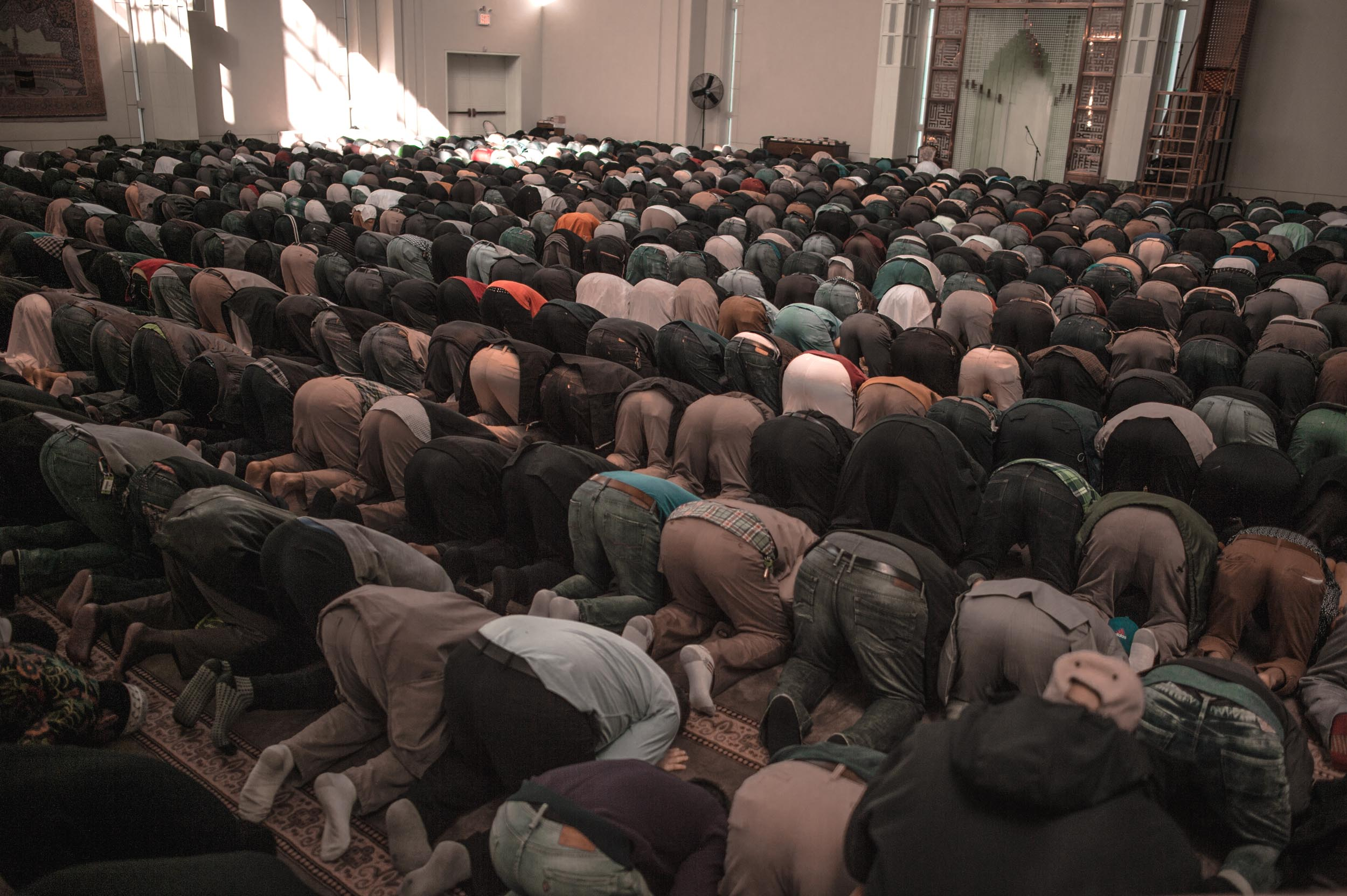 The Jumu'ah, or Friday Prayer, at the 92nd Street Mosque in Manhattan—lead by  Imam Elbaktrawish .
