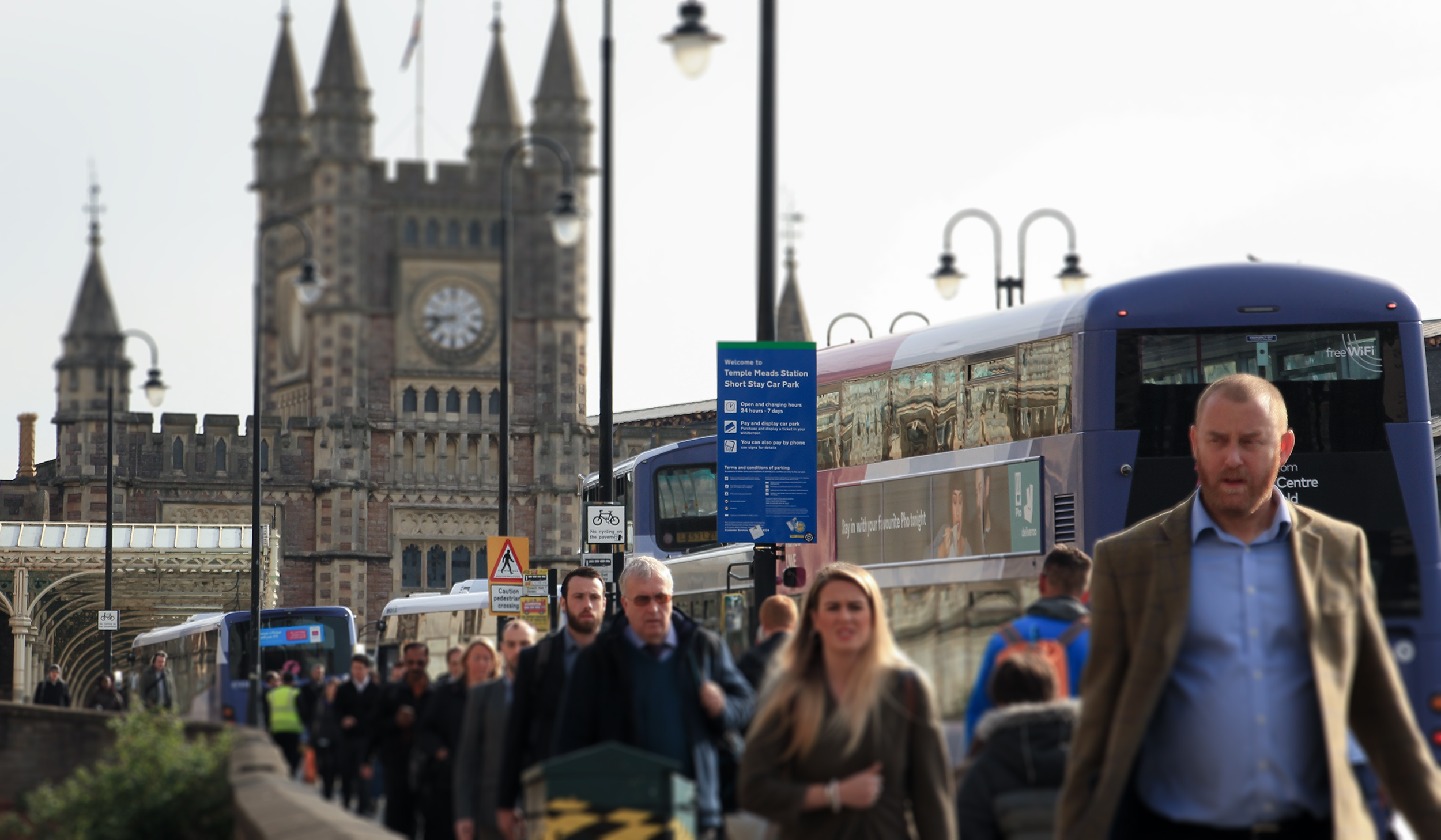 Morning commuters at Bristol's Temple Meads station