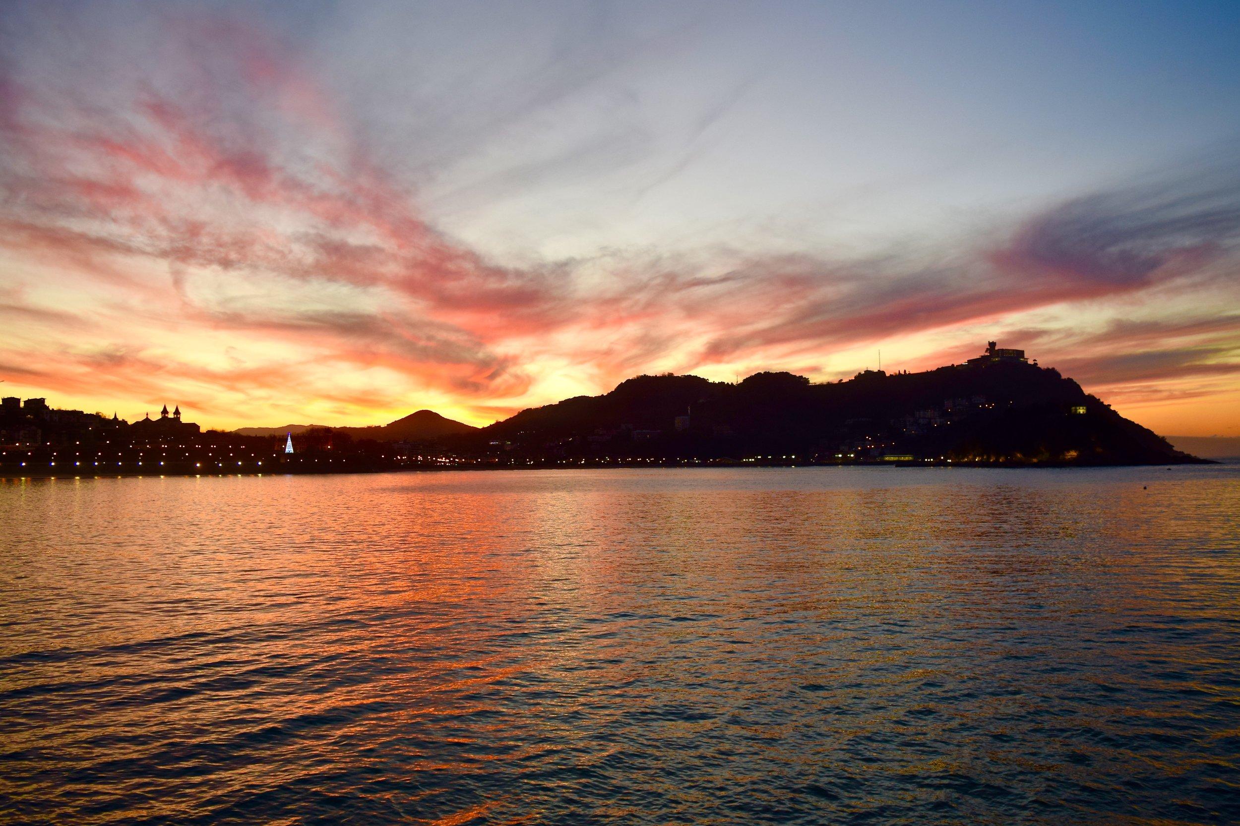 Sunset at Beach of La Concha
