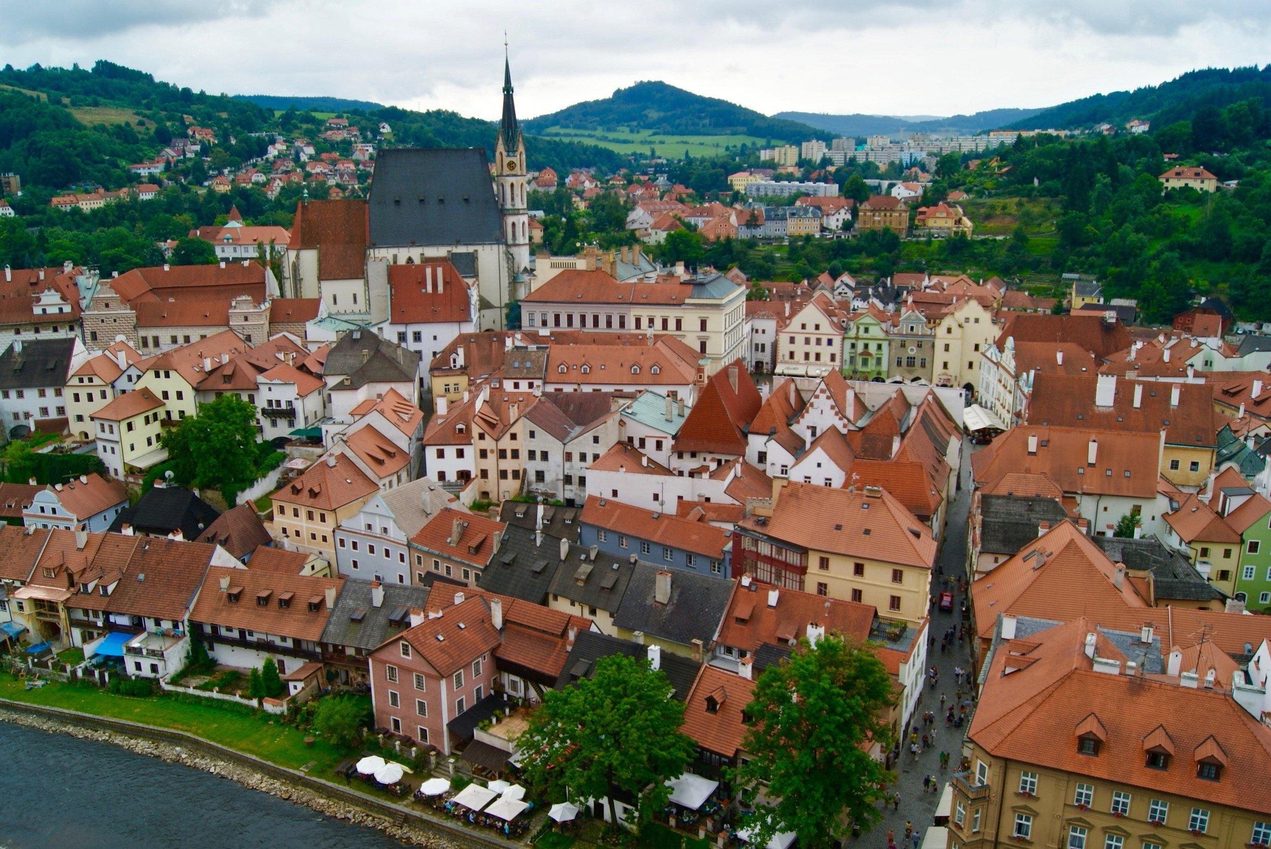 View of Český Krumlov from the tower