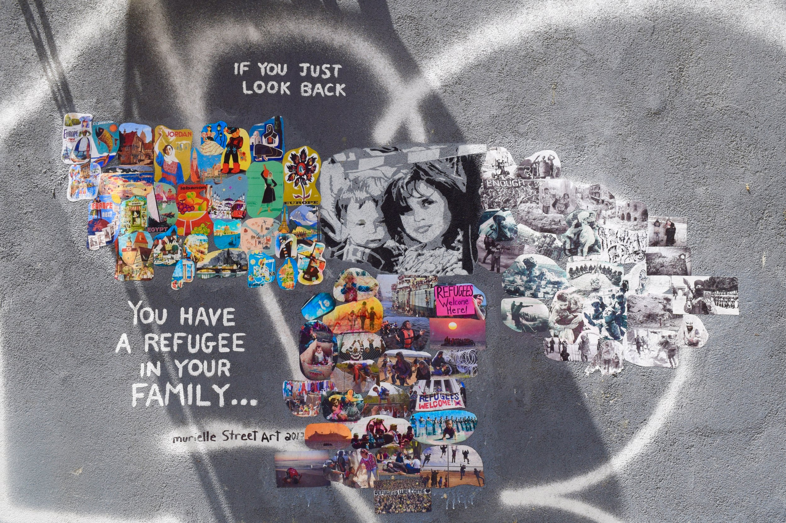 Street art in support of the refugees