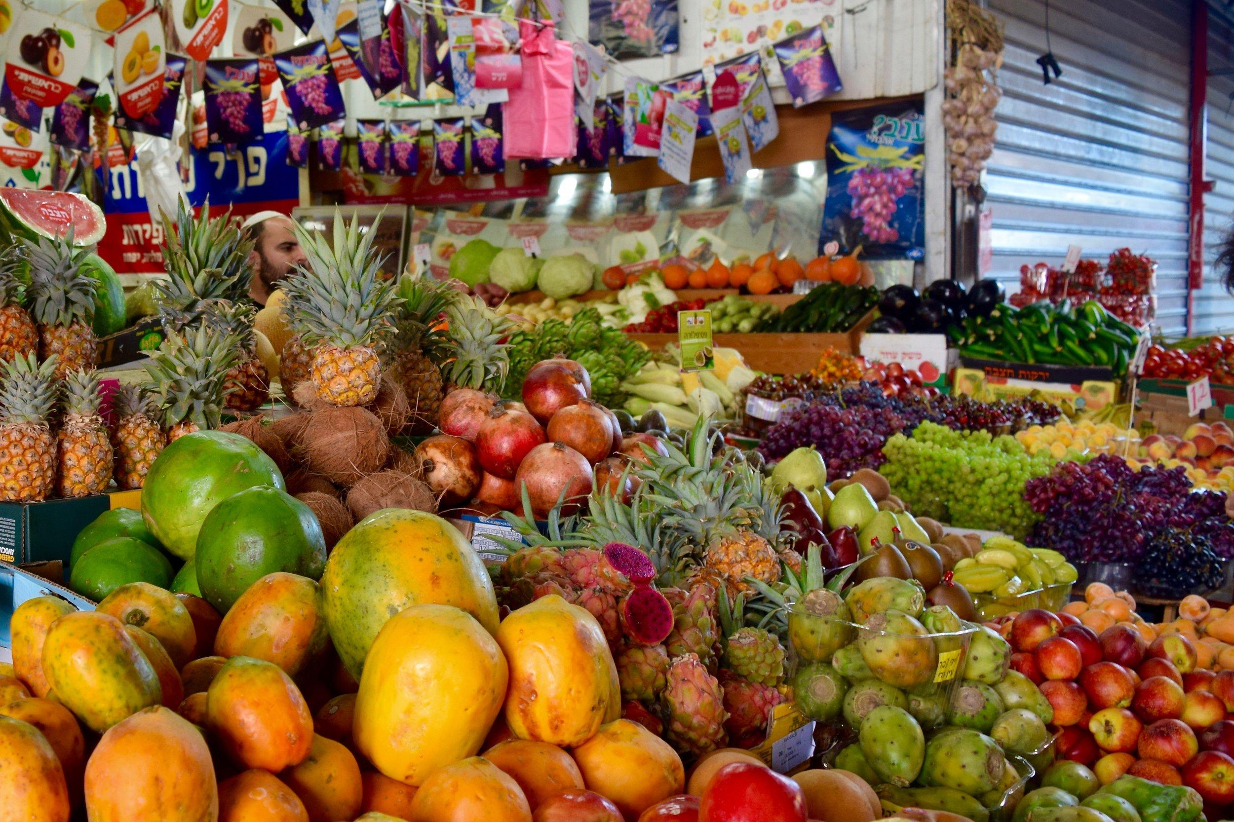 Fruit stall in the Carmel Market