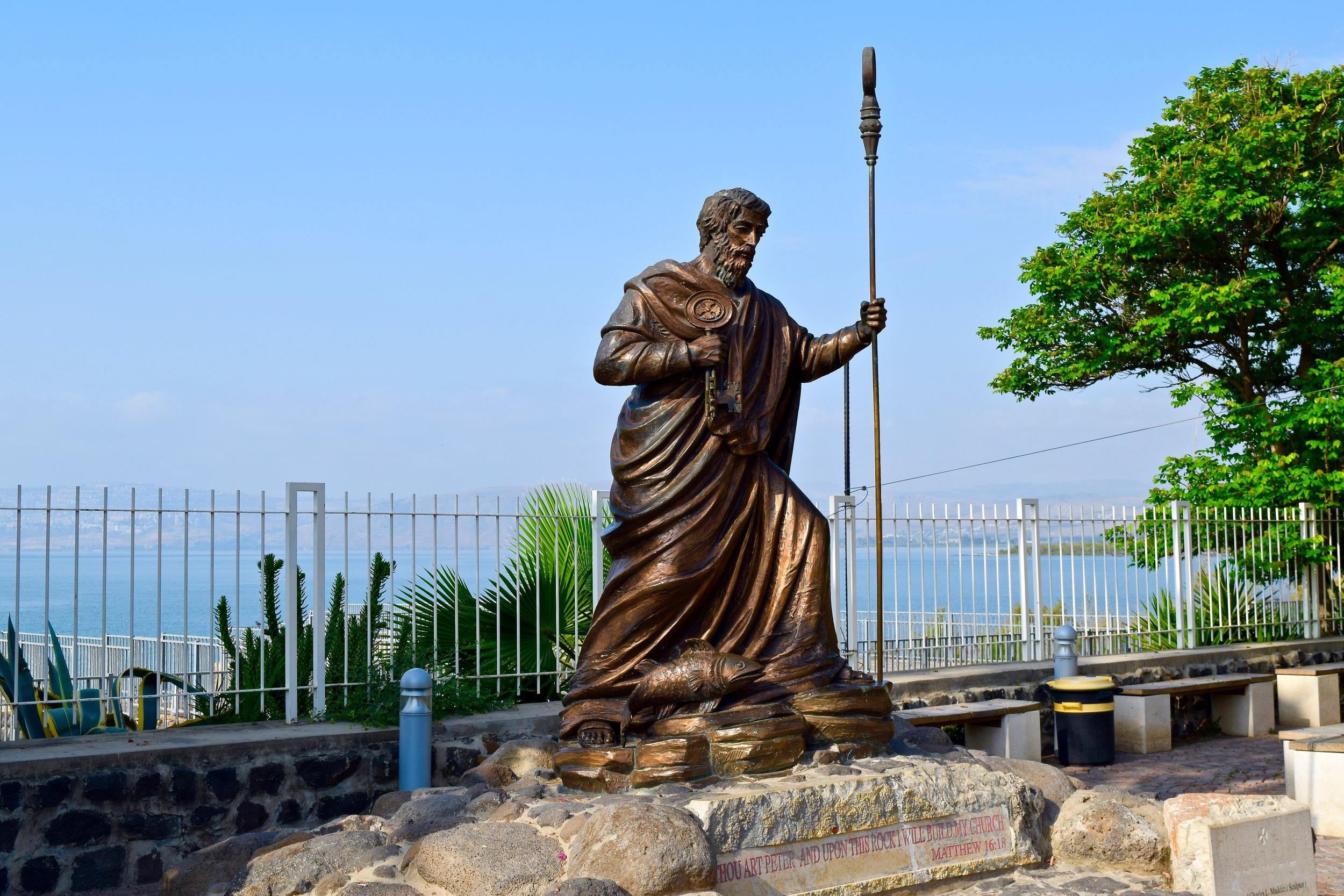 Statue of St. Peter with the Sea of Galilee in the background