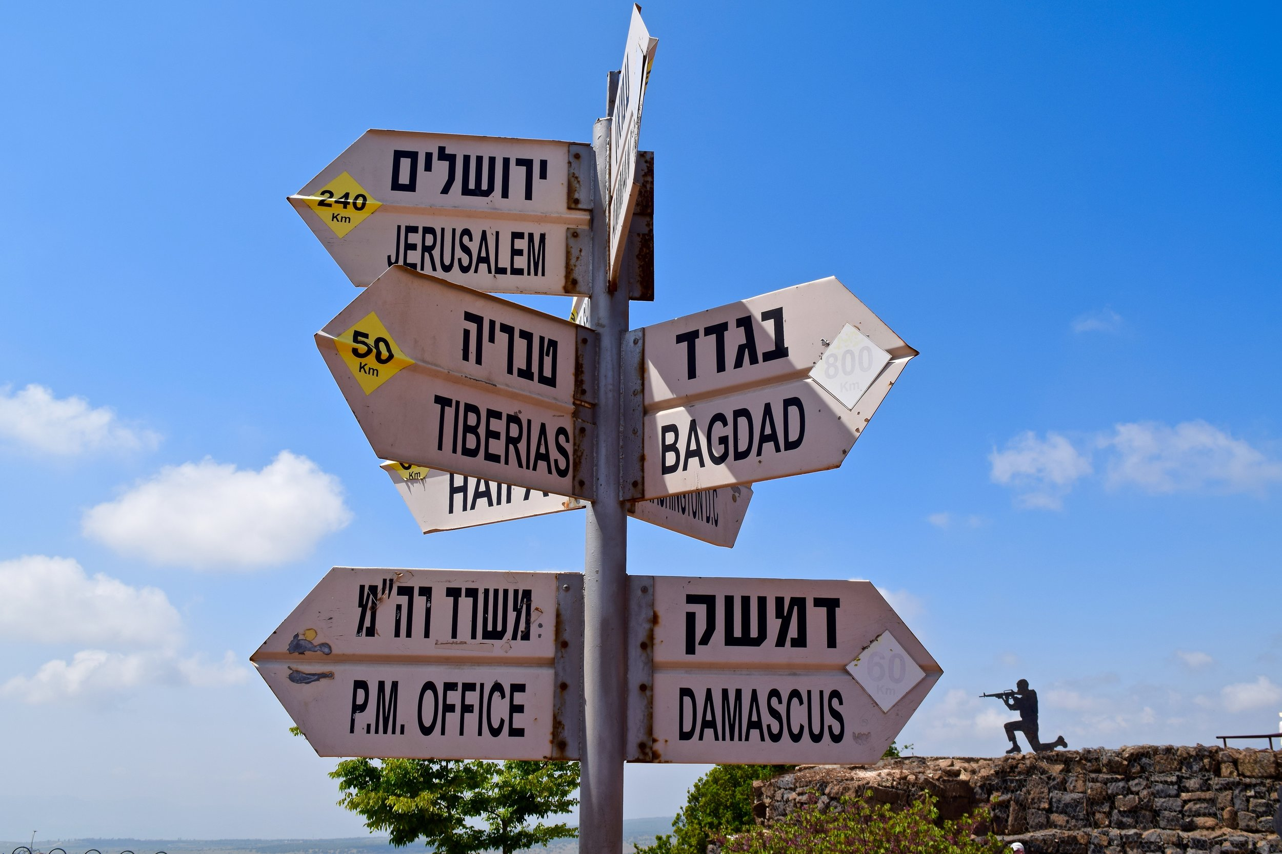 Sign with the distance between Mount Bental and some of the main Middle Eastern cities