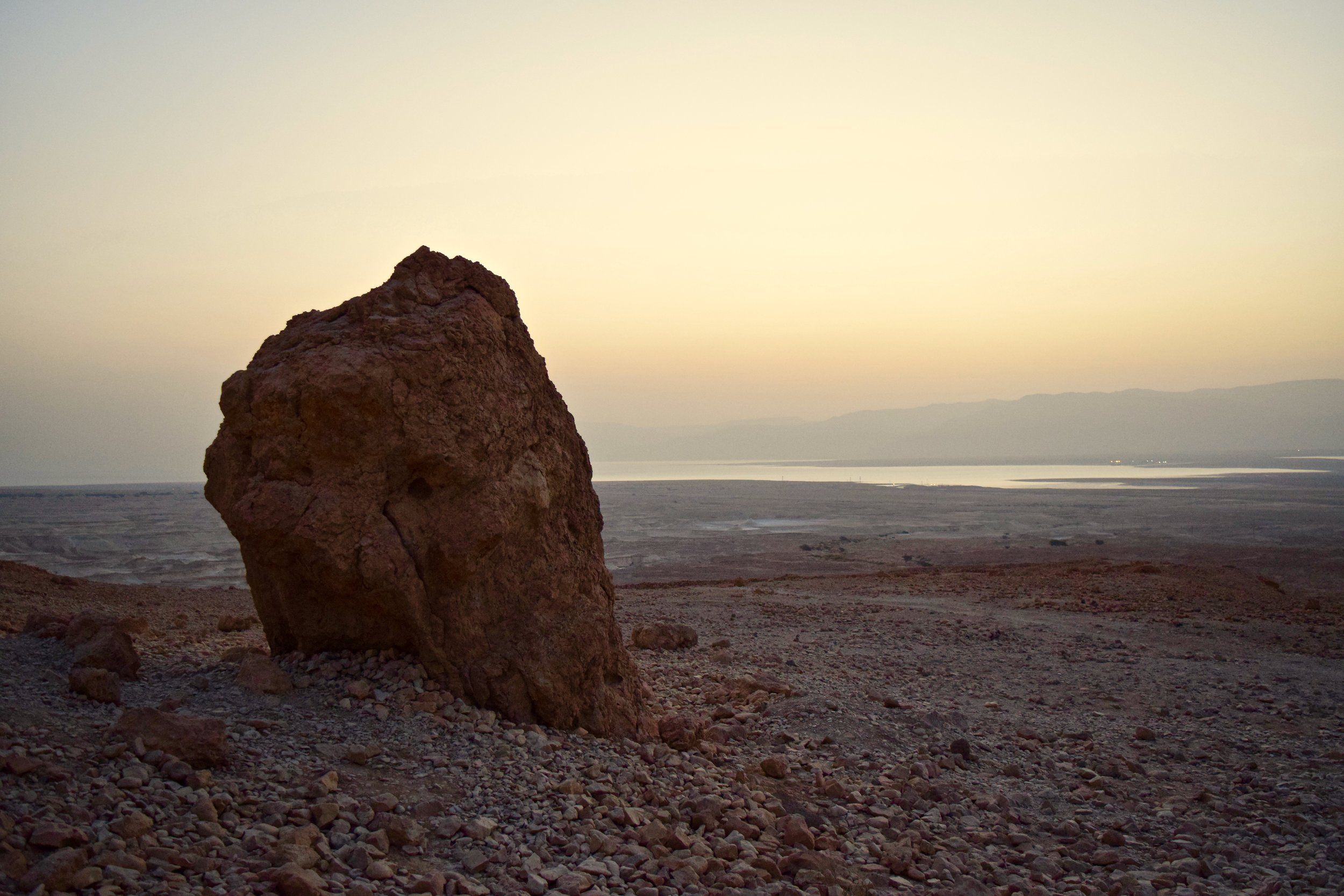 Base of Masada with the Dead Sea in the background