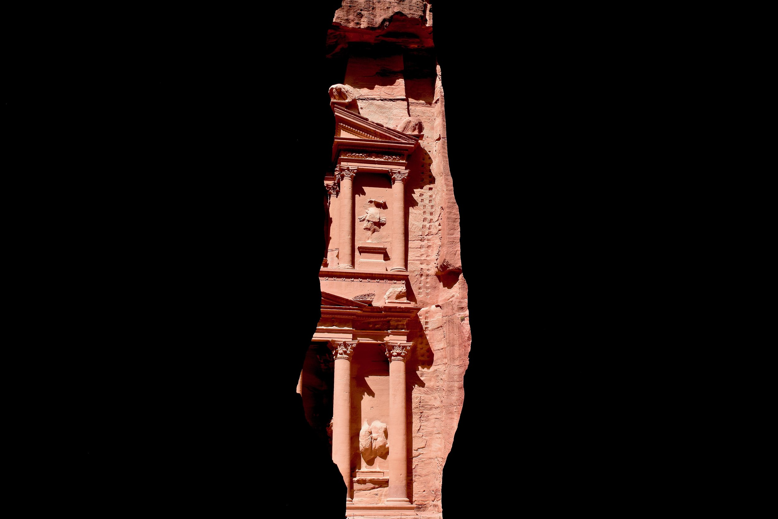 View of the Treasury of Petra from the Siq