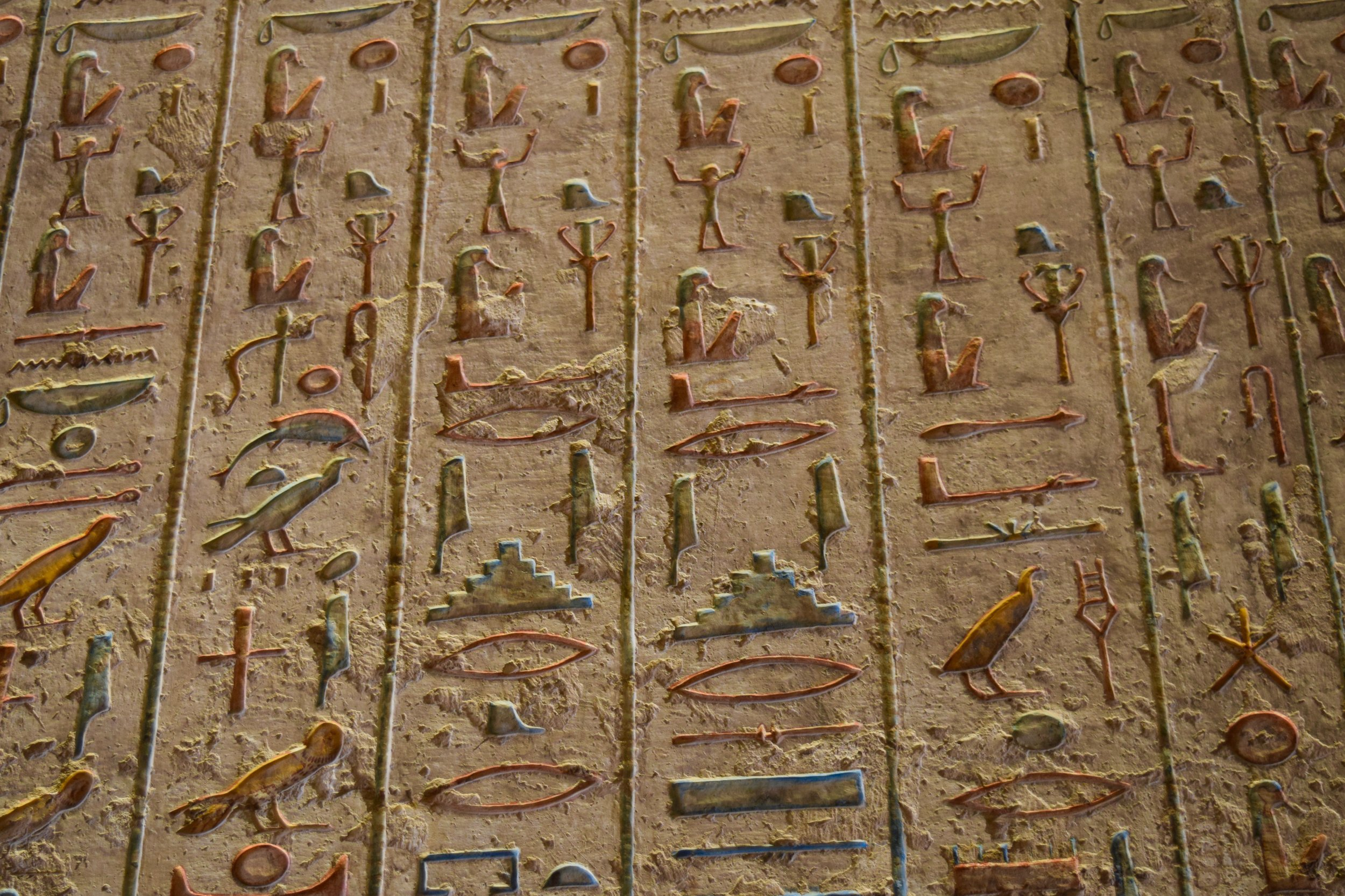 Hieroglyphs inside the tomb of Ramses II