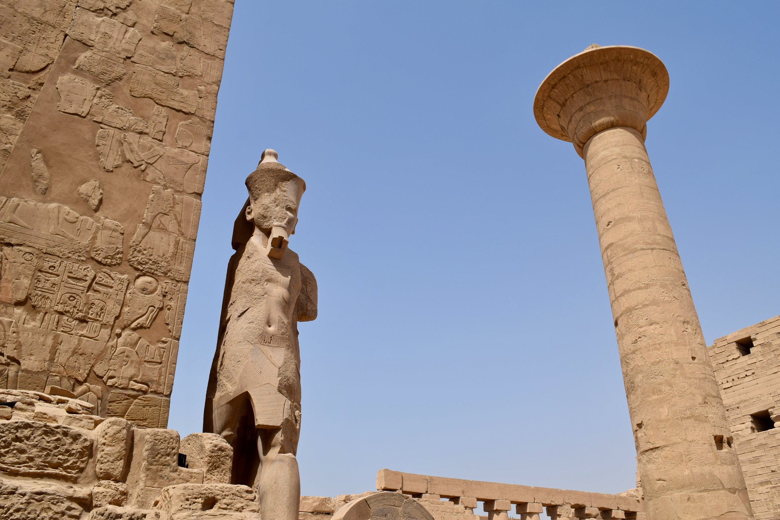 Statue of the Pharaoh with a column