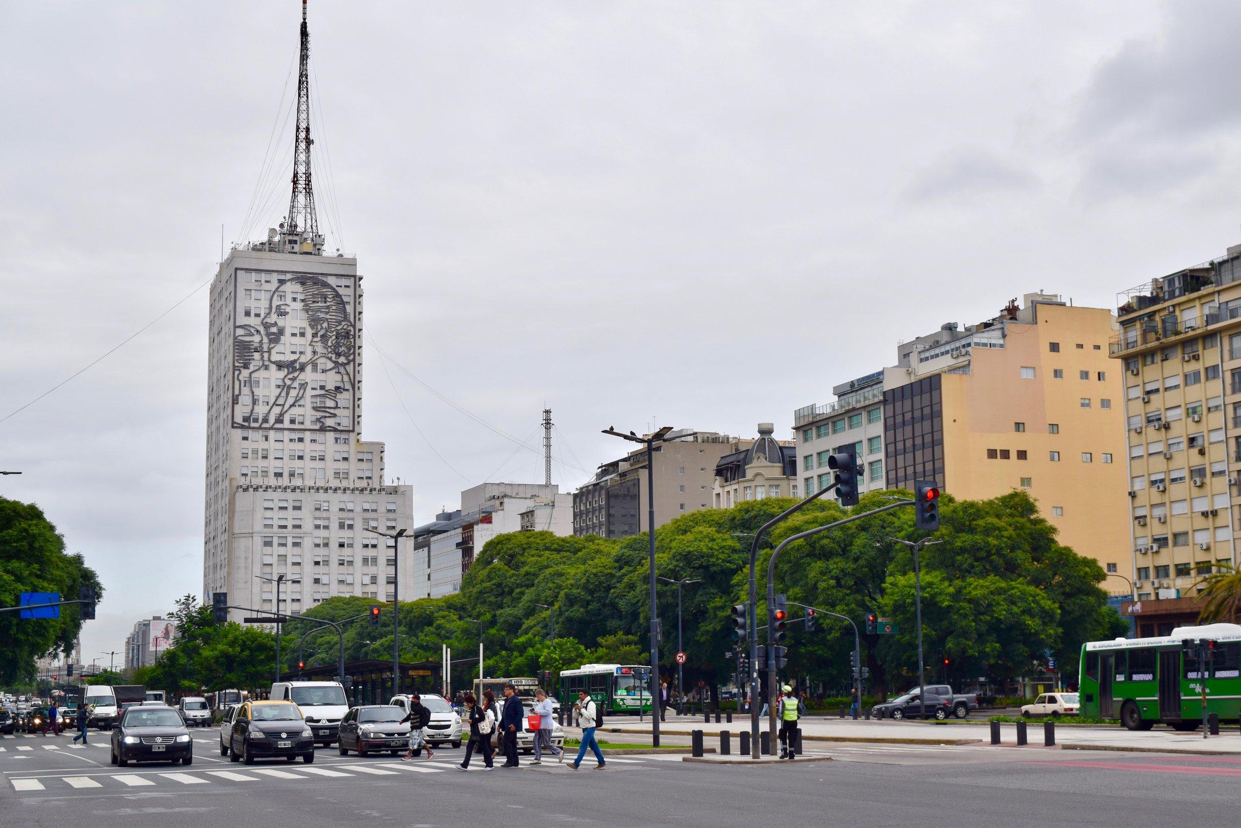 Image of Eva Perón in Avenida 25 de Mayo