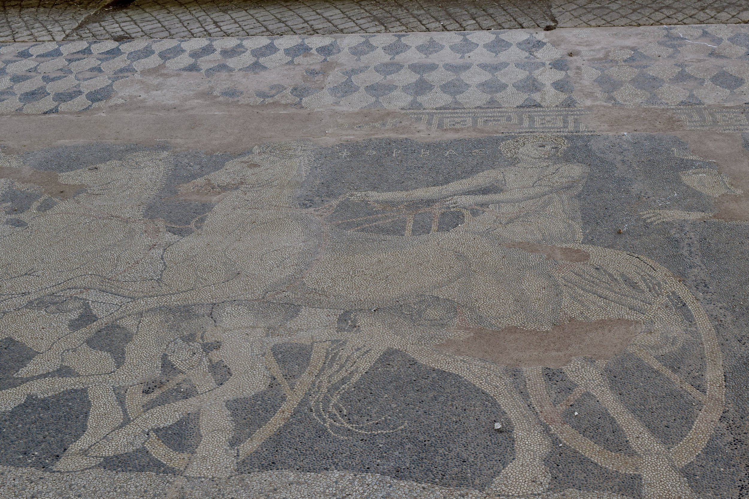 Mosaic of the abduction of Helen by Theseus