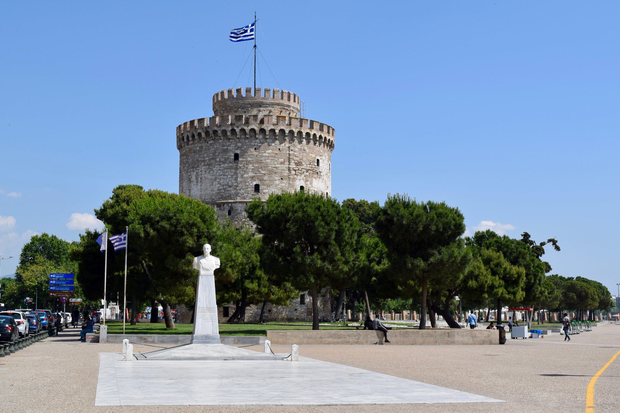 White Tower and statue of Nikolaos Votsis