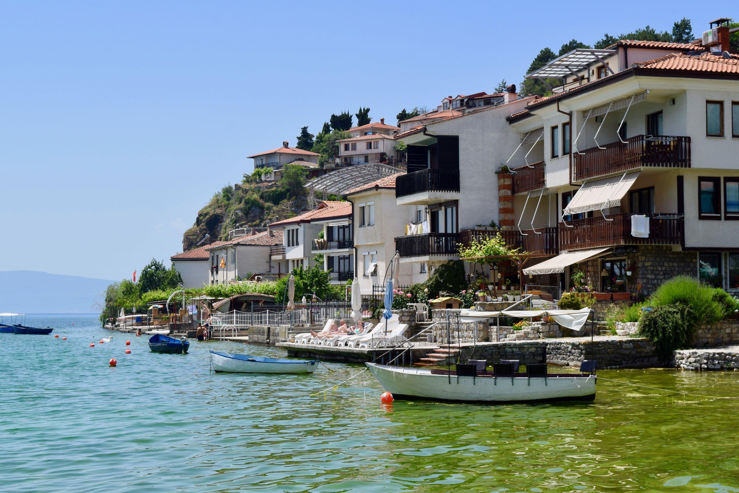 Houses on Ohrid lake