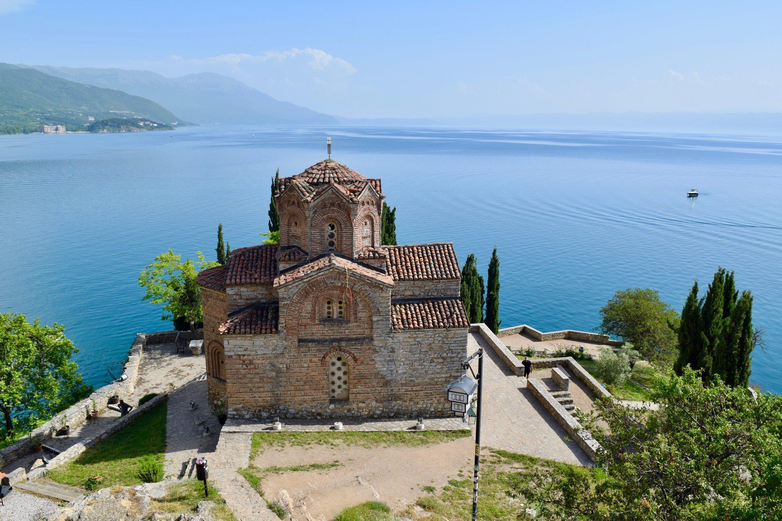 Church of St. John at Kaneo and view of Lake Ohrid