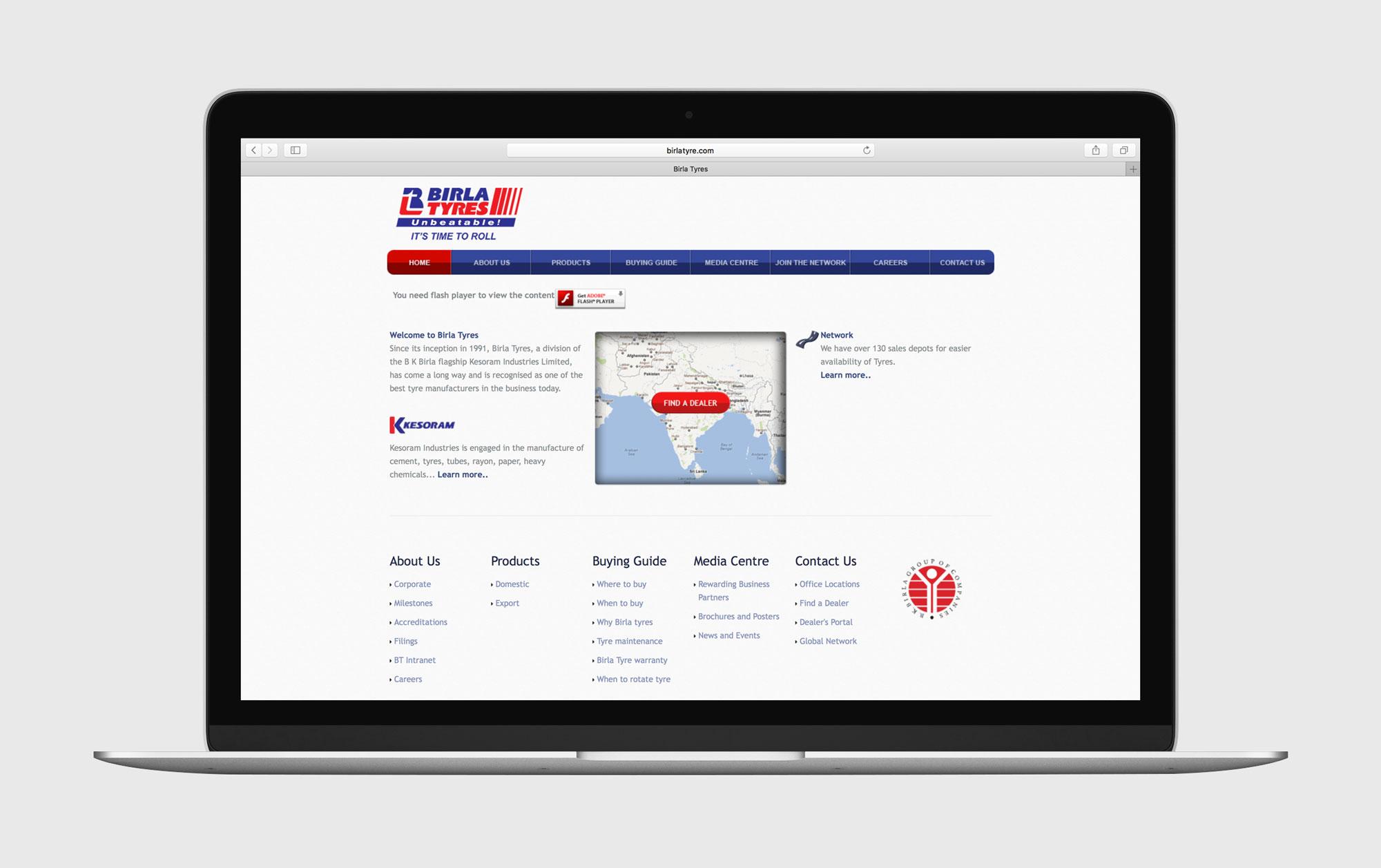 BEFORE:  Birla Tyres old website