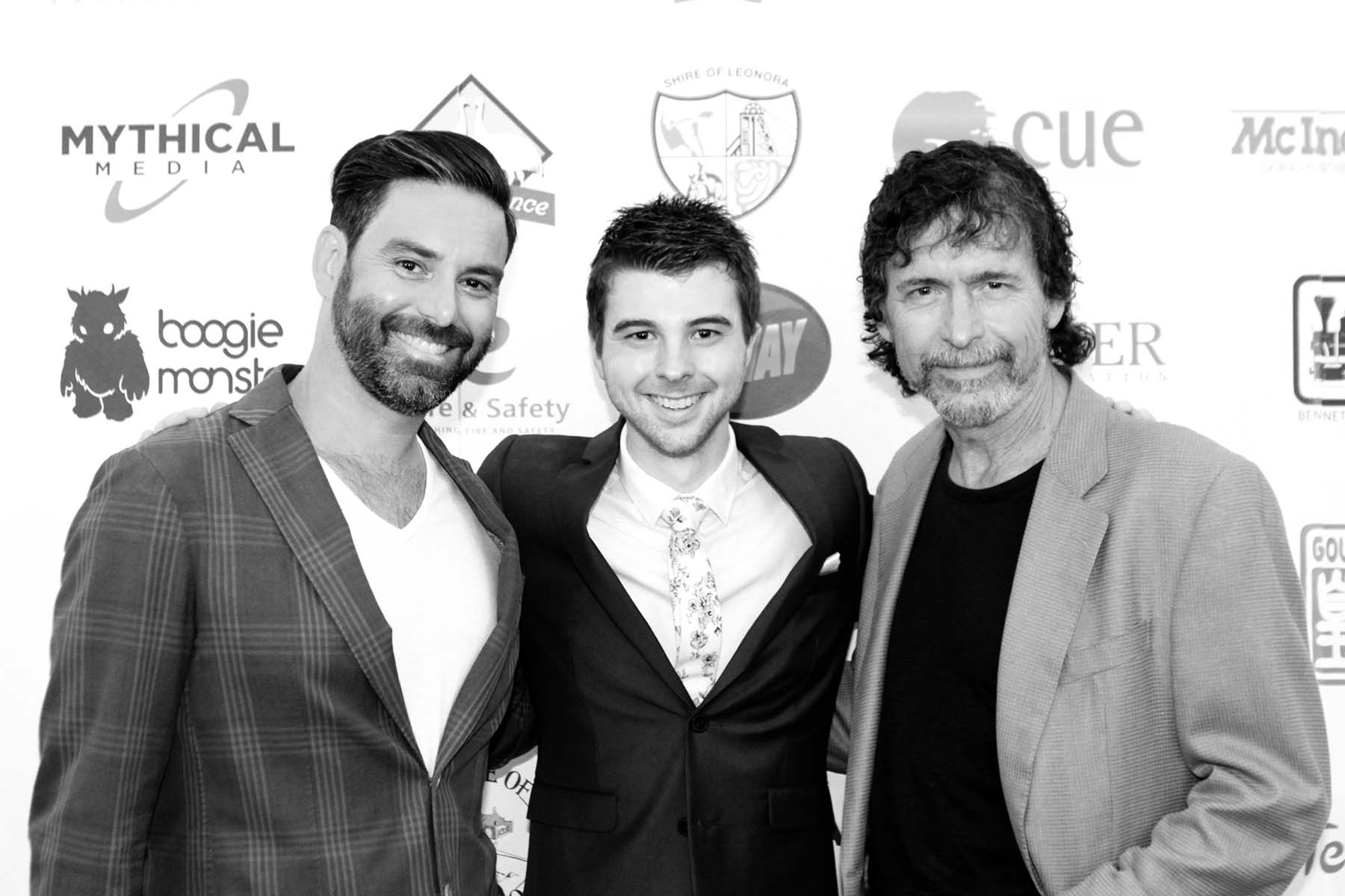 """Founder Jordon Prince-Wright with actors Ben Mortley and Michael Muntz of """"The Decadent and Depraved""""."""