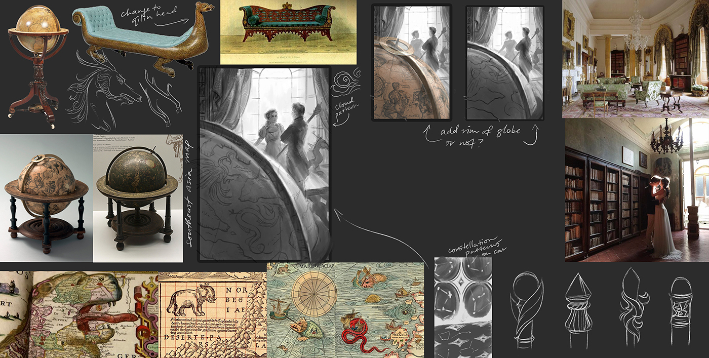 Refined thumbnail with explorations of patterns for fabric and possible staff designs.