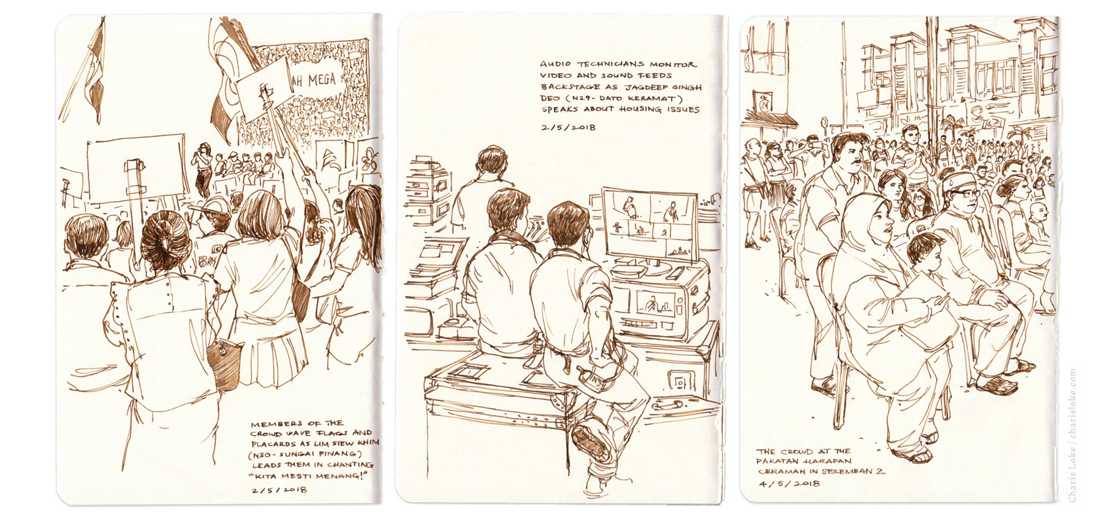 A NATION VOTES: sketch reporting from Malaysia's 14th General Elections for New Naratif.  Read all three illustrated articles here .