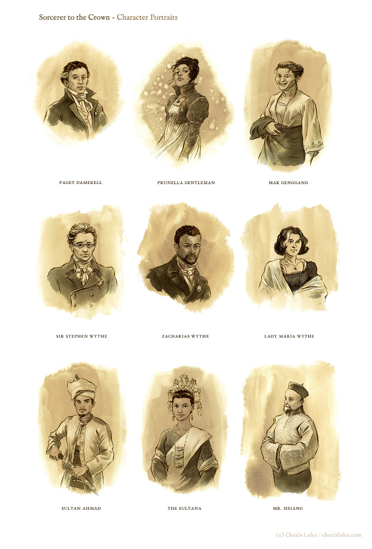 MAGIC AND MAYHEM: character portraits for Zen Cho's 'Sorcerer to the Crown'.