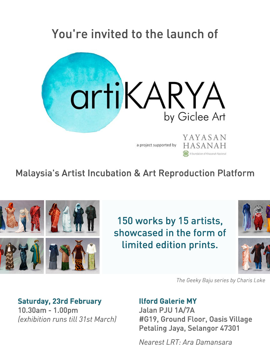 Invitation to the launch of Artikarya, an artist incubation and art reproduction platform.