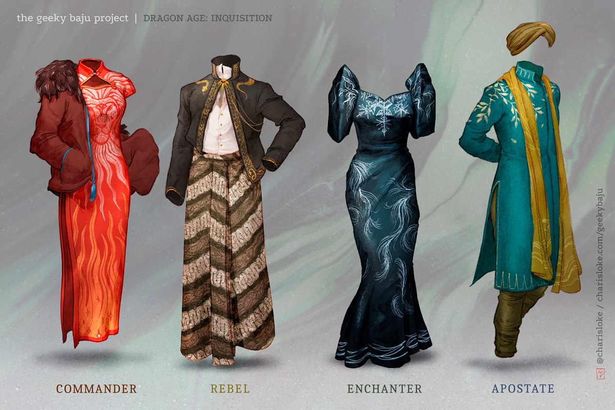 Designs based on  Dragon Age: Inquisition  for the Geeky Baju Project.