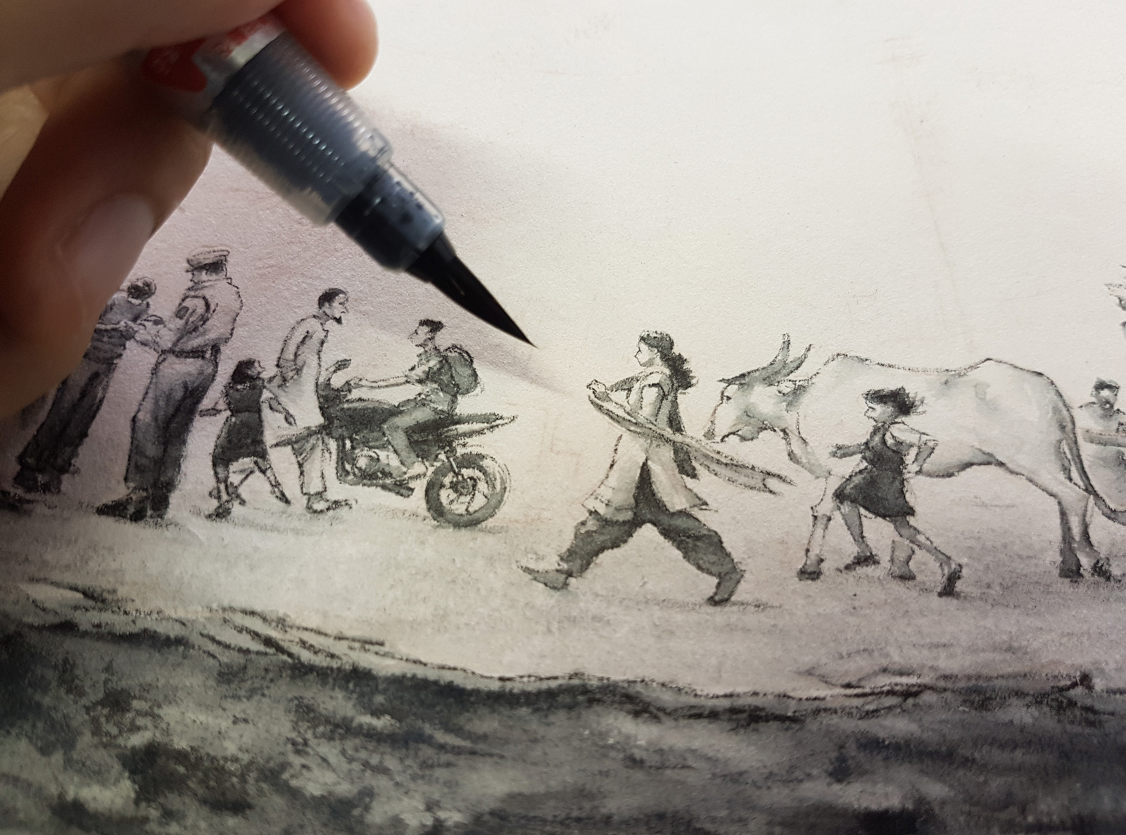 Inking very tiny people!