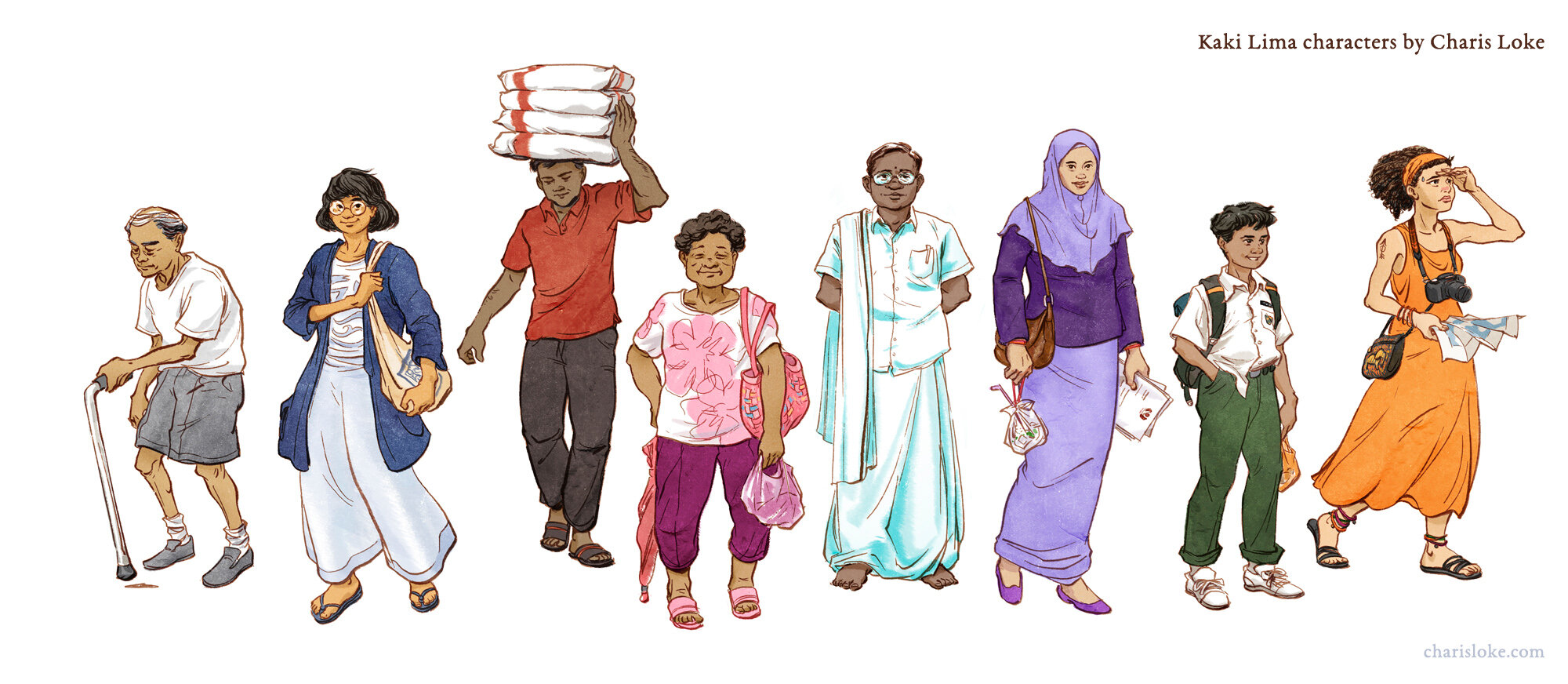 Character art for the tabletop boardgame KAKI LIMA, based on pedestrian walkways in historic George Town, Penang.