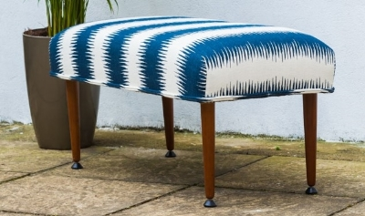 1970s Footstool finished wiht screen printed Jiri stripe and pipe edging.
