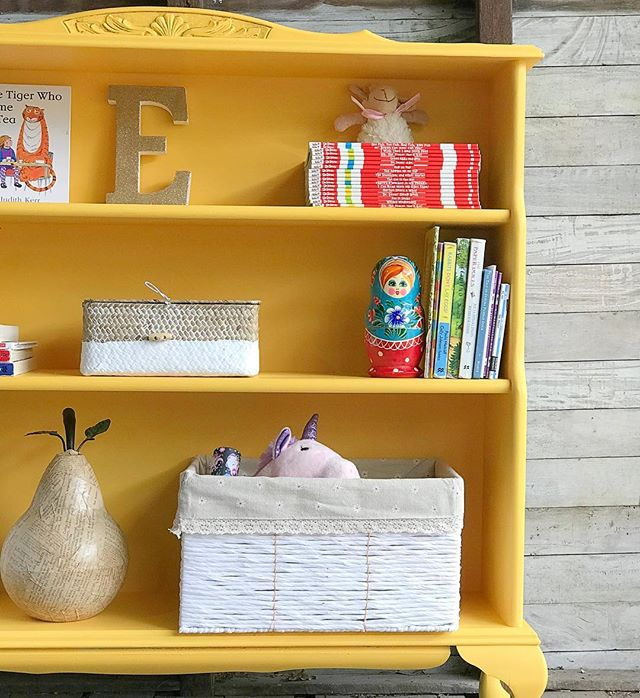 Custom bookcase sourced and hand painted in a fun yellow chalk paint (my own mix) for little Eloise's bedroom. #bespokebookcase #bookcase #bespoke #bookcasestyling #vintagehomedecor #colourmyhome #yellowinteriors #shelfie