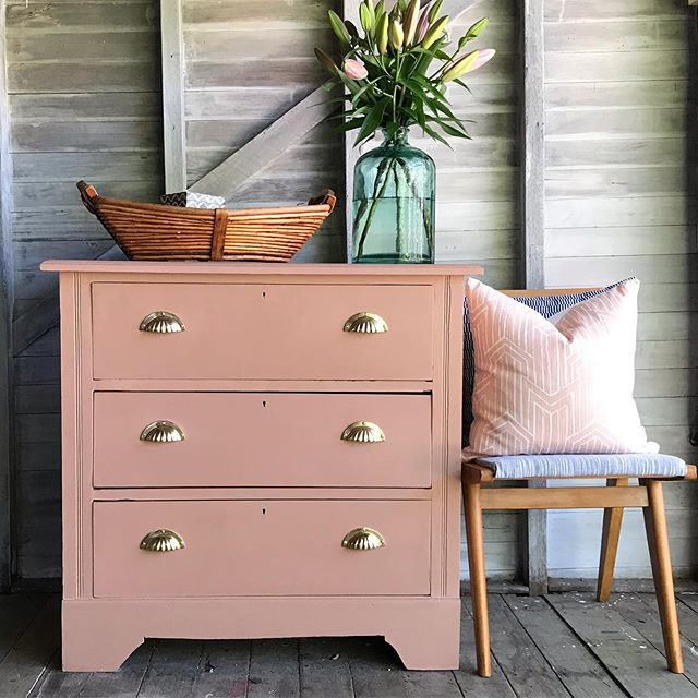 Available for sale: Earthy Vintage Chest of Drawers with statement gold hardware. Link in bio for sale details #earthytones #refinishedfurniture #goldhardware #chestofdrawers #rusticdecor #vintagefurniture #therjhcollection