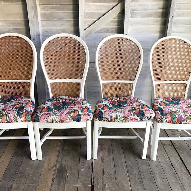 Available for sale: Set of 4 solid wood and cane dining chairs with new seat fabric featuring a tapestry of pink cockatoos, parakeets, toucans and palms. A textured hard wearing fabric - so much fun! Link in bio for sale details. DM with any questions. #vintagefurniture #diningchairs #availableforsale #birdsandpalms #colourmyhome