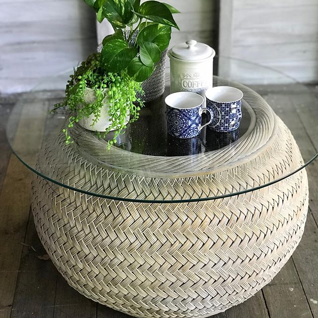 Available for Sale: Cylindrical glass top cane coffee table with a white wash finish. Such a versatile item..could be used as part of an under cover outdoor setting, side table or lounge coffee table. Follow the link in my bio for sale details. #canefurniture #coffeetable #vintagefurniture #whitewash #brisbanevintage